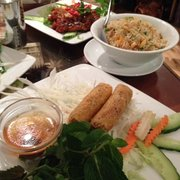 Vegetable spring rolls and Spicy chicken