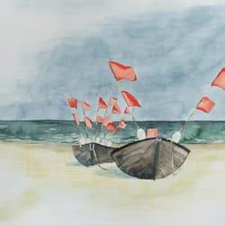Boote am Strand - Aquarell von Frank…