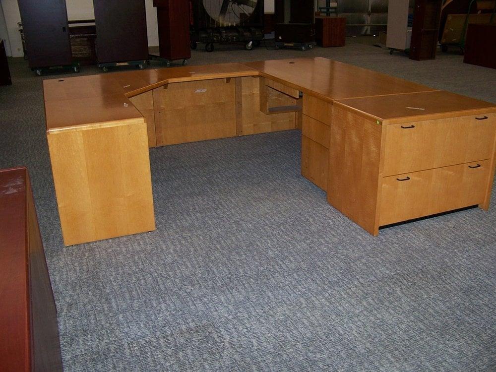 sold used u shape honey maple desk set with matching