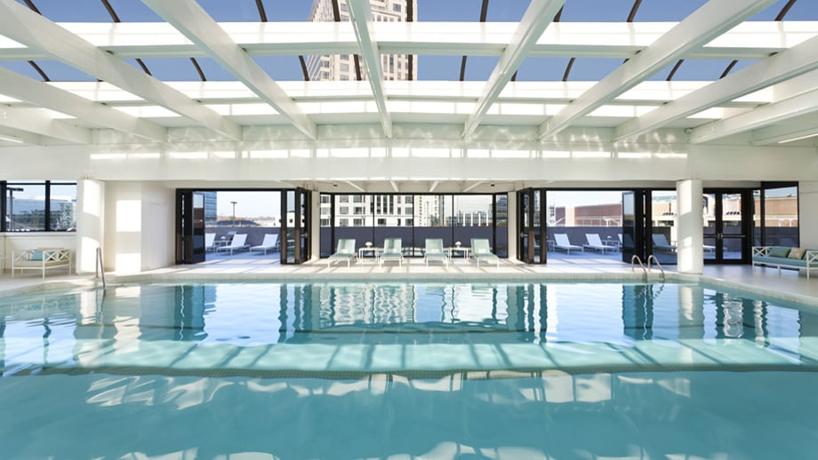 The Junior Olympic Size Saline Indoor Lap Pool Features An Adjacent Sun Deck Overlooking The