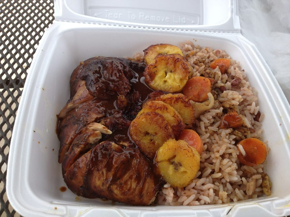 ... States. Jerk chicken, fried plantains, and rice and peas! So good