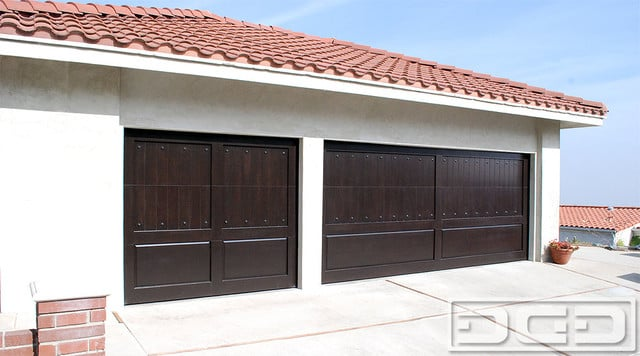 Mediterranean garage doors in orange county composite for Composite wood garage doors