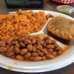 ... States. Spicy Chicken empanada with rice & beans $6.25 w/ drink
