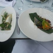 Lunch main : Steamed seabass courgette flower, crab, purslane, orange and fennel  salad