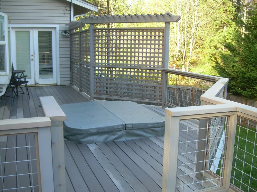 Deck hot tub platform surround and custom railing and for Build deck privacy screen