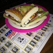 Founding Fathers Pub - Buffalo, NY, United States. The Blackened Blue chicken sandwich (which comes with a presidential placemat)