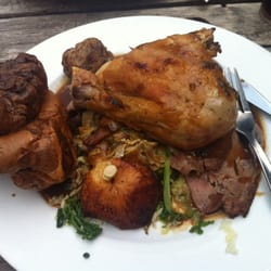 Roast chicken and lamb with Yorkshire…