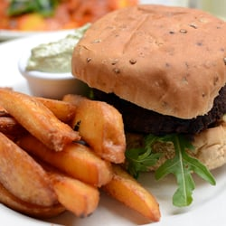 Mushroom and carrot burger - yum!