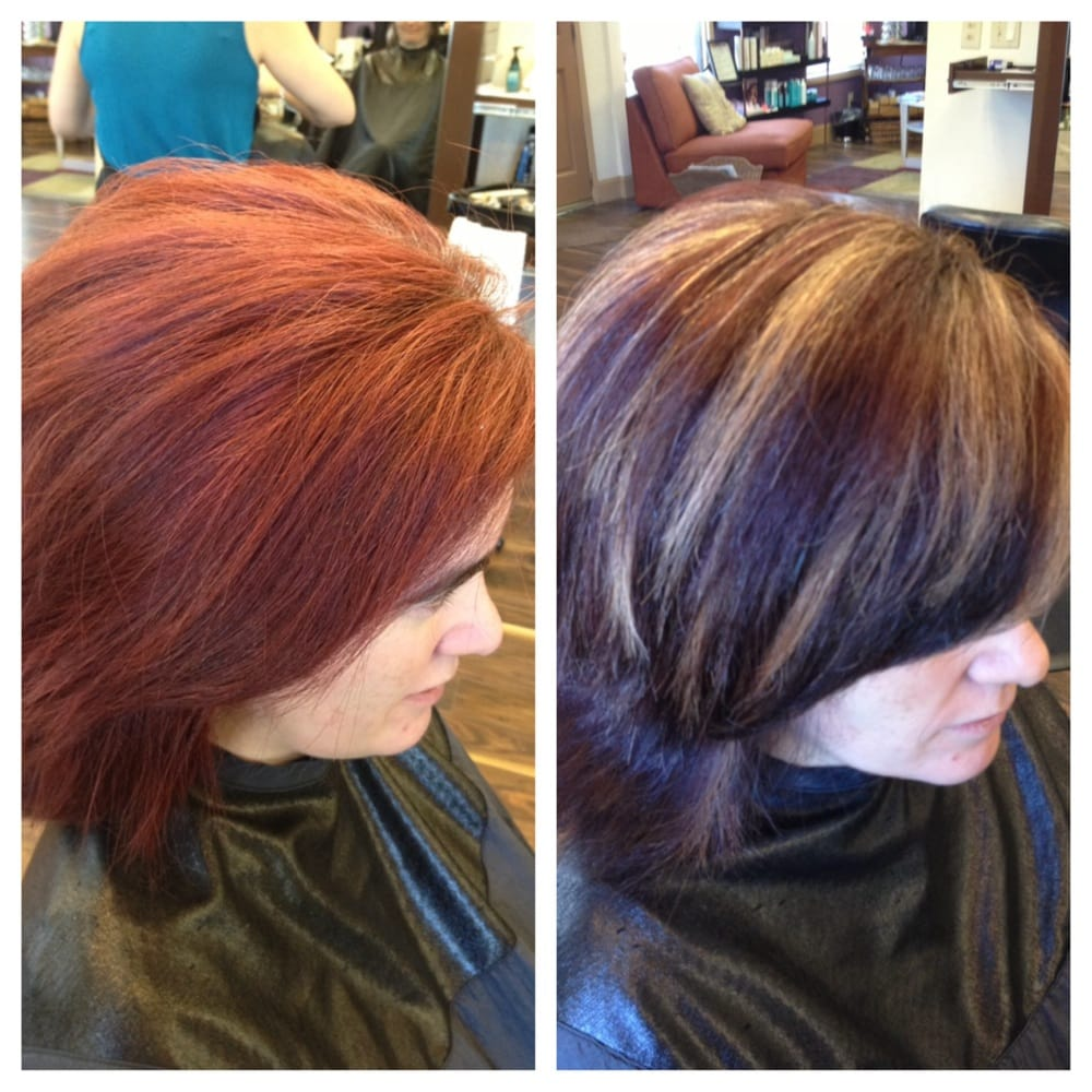 Haircut color correction red to brown with chunky blonde for A davis brown salon