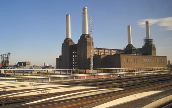 Battersea Power Station, from the Dorking train window