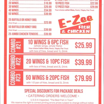 E zee fish chicken 48 photos seafood 4330 n state for Fish and chicken menu