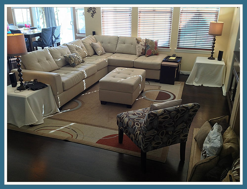 Poundex bobkona khaki leather sectional only 775 with the for Affordable furniture florida