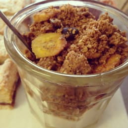 homemade coconut & chewy banana granola with fresh banana & thick creamy yoghurt