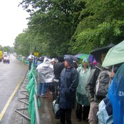 The queue on a rainy day