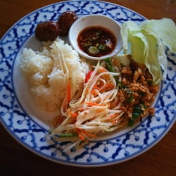 sticky rice, papaya salad, Isarn sausages, pork larb