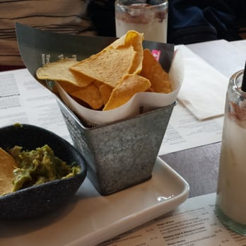 Guacamole and chips. Horchata for the win!