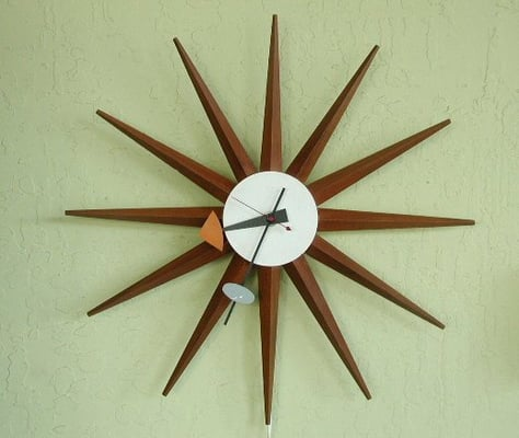 Vintage george nelson sunburst wall clock yelp for Nelson wall clock