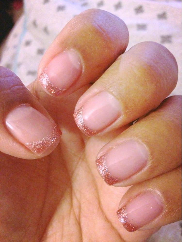 Pink Glitter Gel Nails Pink Glitter French Tip Gel