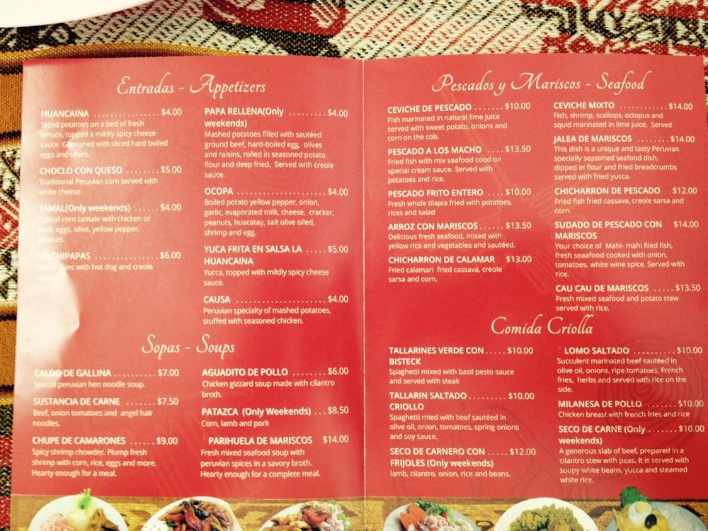 Antojitos Del Peru Peruvian Food Menu
