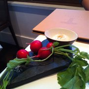 Fresh radishes with cod roe dip