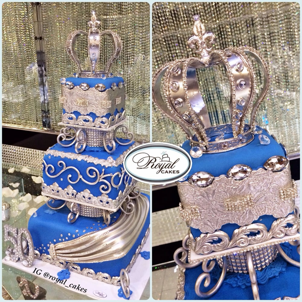 Royal blue & silver birthday cake for a king! www ...