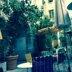 Quiet beautiful courtyard, candlelight,…