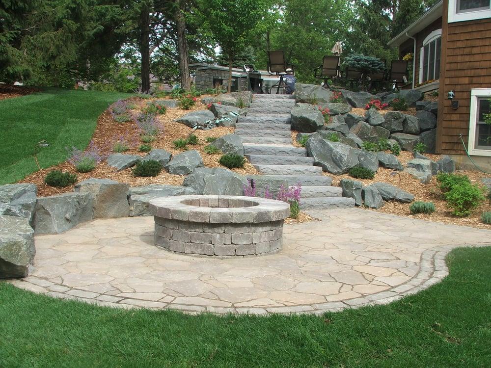 Garden Design Group : Terraced hillside with firepit yelp