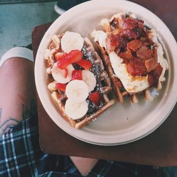 Wow Wow Waffle - Nutella, strawberry, banana waffle & candied bacon w ...
