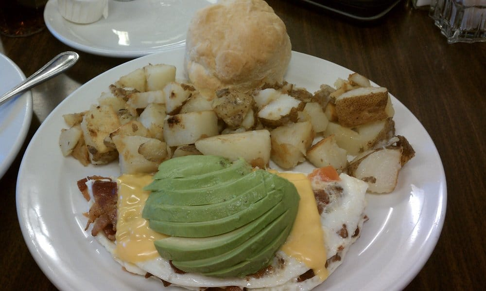 Corner Cafe - Bacon, Avocado, Tomatoes and Cheese Egg White Omelette ...
