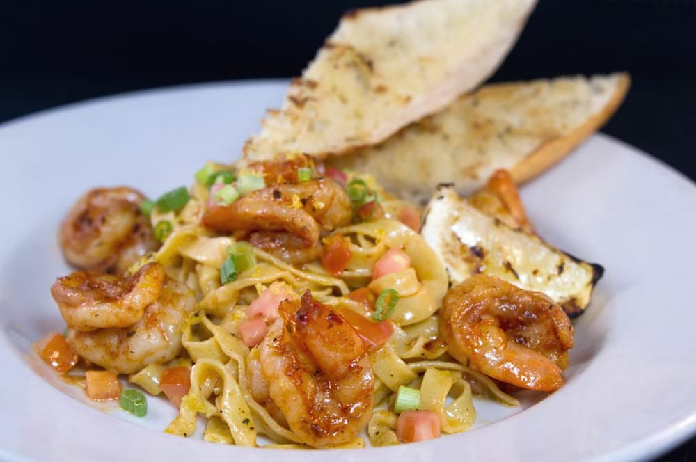 . Blackened Shrimp Linguine-house made noodles tossed with white wine ...