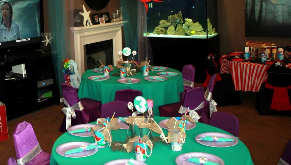 Little mermaid ariel princess theme birthday party table for Ariel birthday party decoration ideas