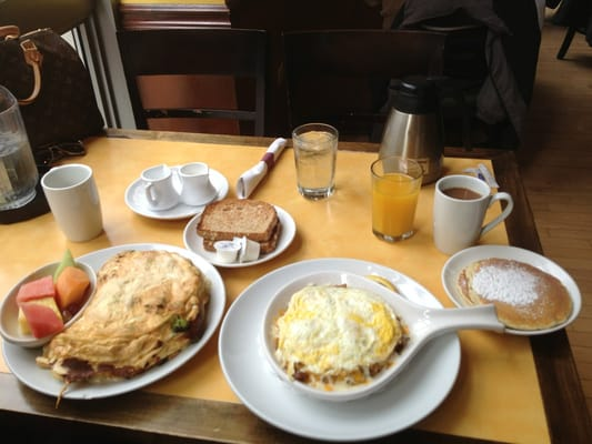 On the left we have a ginormous protein omlet and a Tommy Boy Skillet on the right. Delicious!