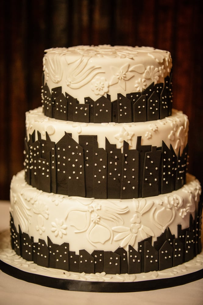 Art Deco Sheet Cake : Our 3-tier city skyline silhouette with art deco pattern ...
