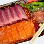 Mixed Sashimi Box - Salmon & Tuna Sashimi, Mori Pickles, Soy, Ginger, Wasabi