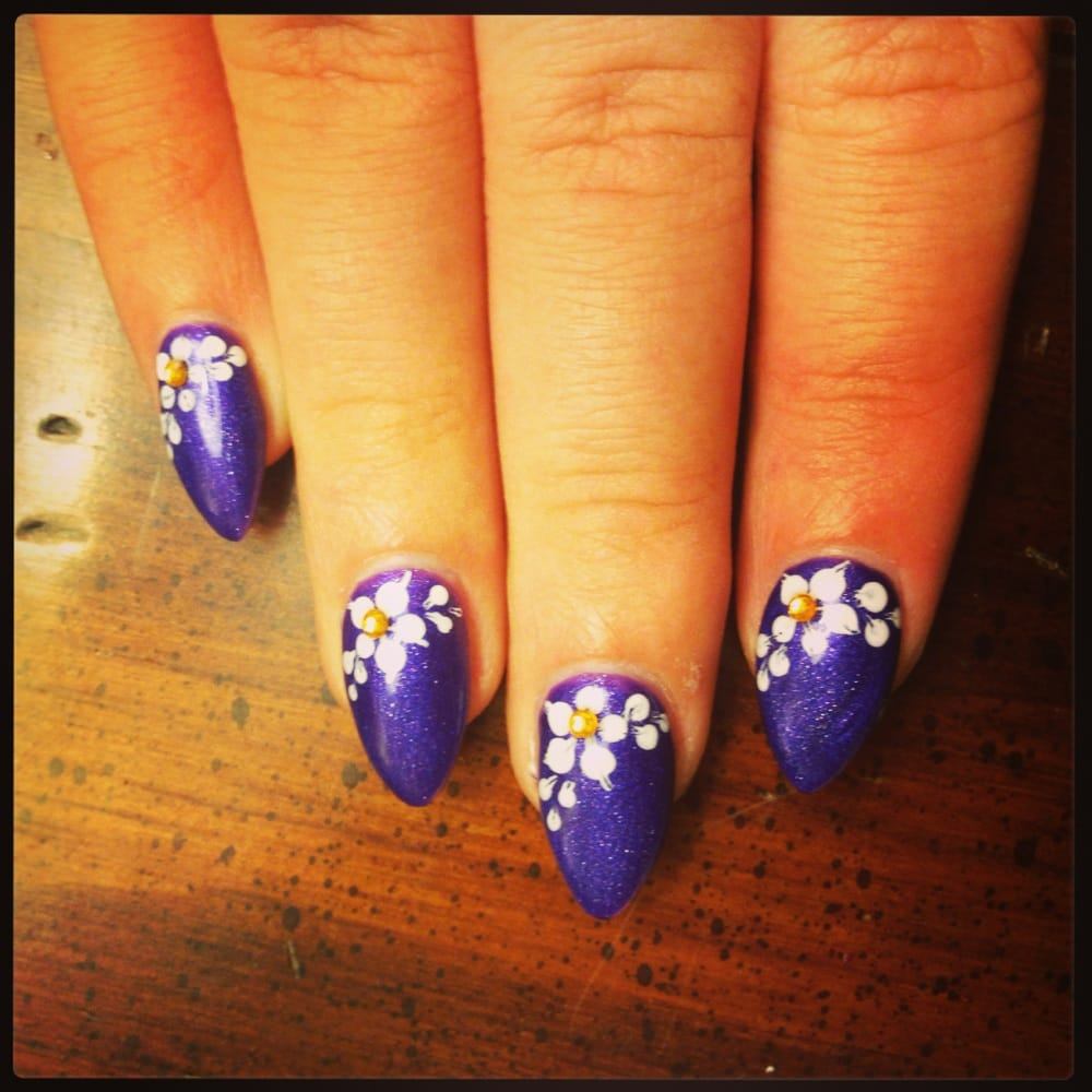 Nail Spa - San Jose, CA, United States. Purple shellac stiletto nails