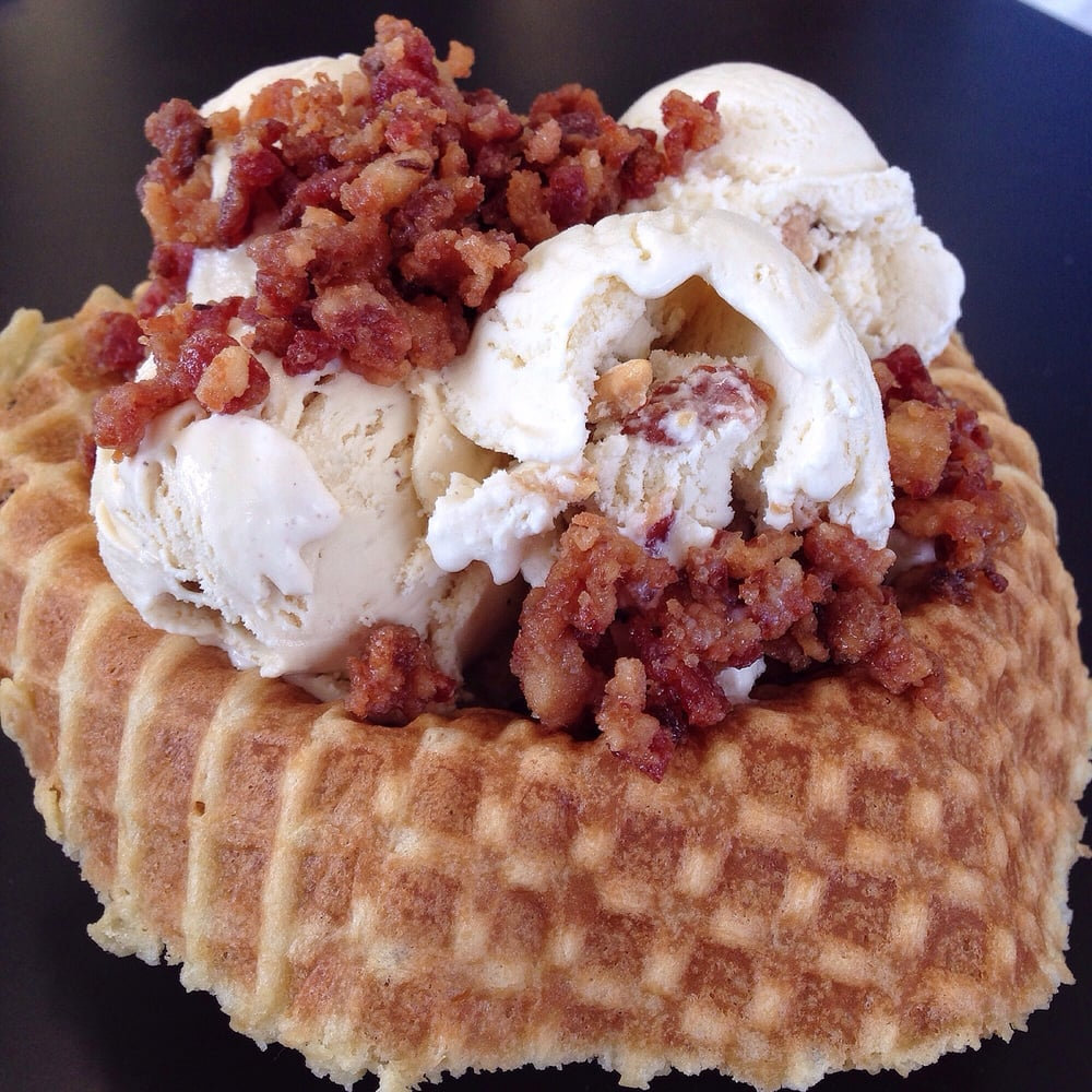 ... Banana, Bacon) Ice Cream in a Housemade Waffle Bowl topped w/ Candied