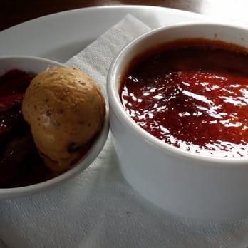 ... New Zealand. Creme brulee with roasted rhubarb and hazelnut icecream