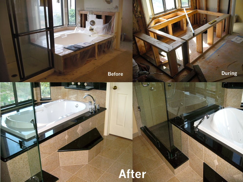 dark countertops with light cabinets