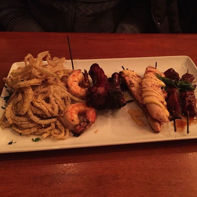 ... Grilled Honey Dijon Chicken Skewers, Lemon Garlic Shrimp, Steak