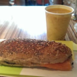 Salmon sandwich and exotic fruit juice