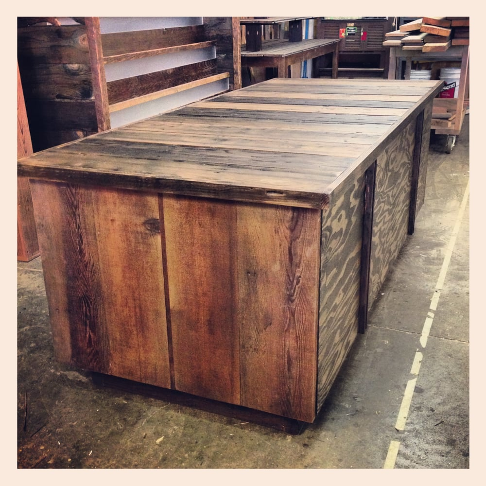 Display Table With Doors Made Of Reclaimed Rough Cut