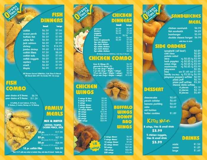 Sharks fish chicken closed seafood university for Chicago fish and chicken menu