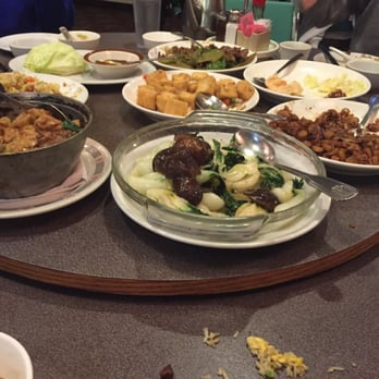 ... Mushrooms and bok choy dish, lettuce wrap, fried tofu, fried rice, and
