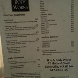 Skin & Body Works offers facials and is located at 77 Holland St, Somerville, MA. Get a facial for $ With stars from reviews, Skin & Body Works is one of the best day spas in Somerville, MA.