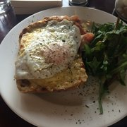 Croque monseuir with an egg on top. Is…