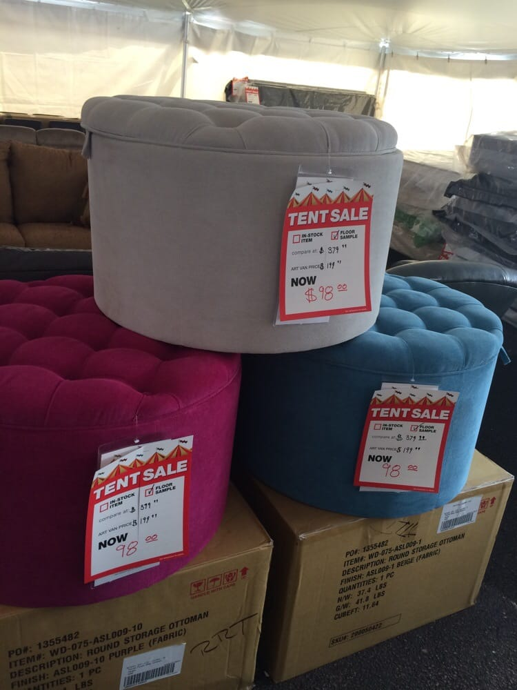 30 Round Shoe Storage Ottoman Only 98 While Supplies Last At The Art Van Furniture Tent Sale