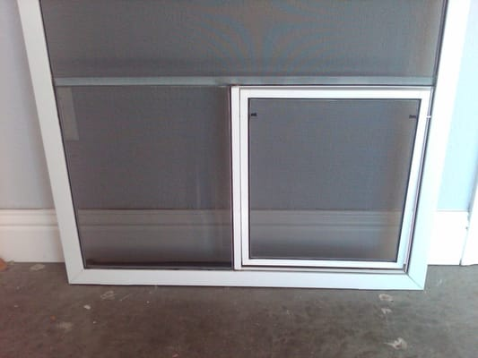 Patio screen pet doors yelp for Wizard retractable screen door