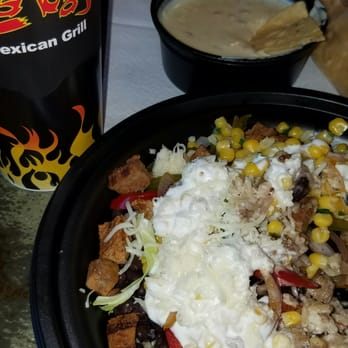 ... Vegas, NV, United States. Queso dip with chips, grilled steak bowl