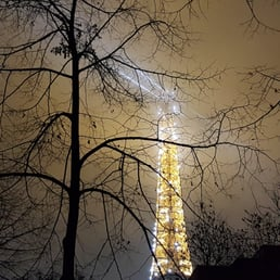 Eiffel tower on a cold and misty night!