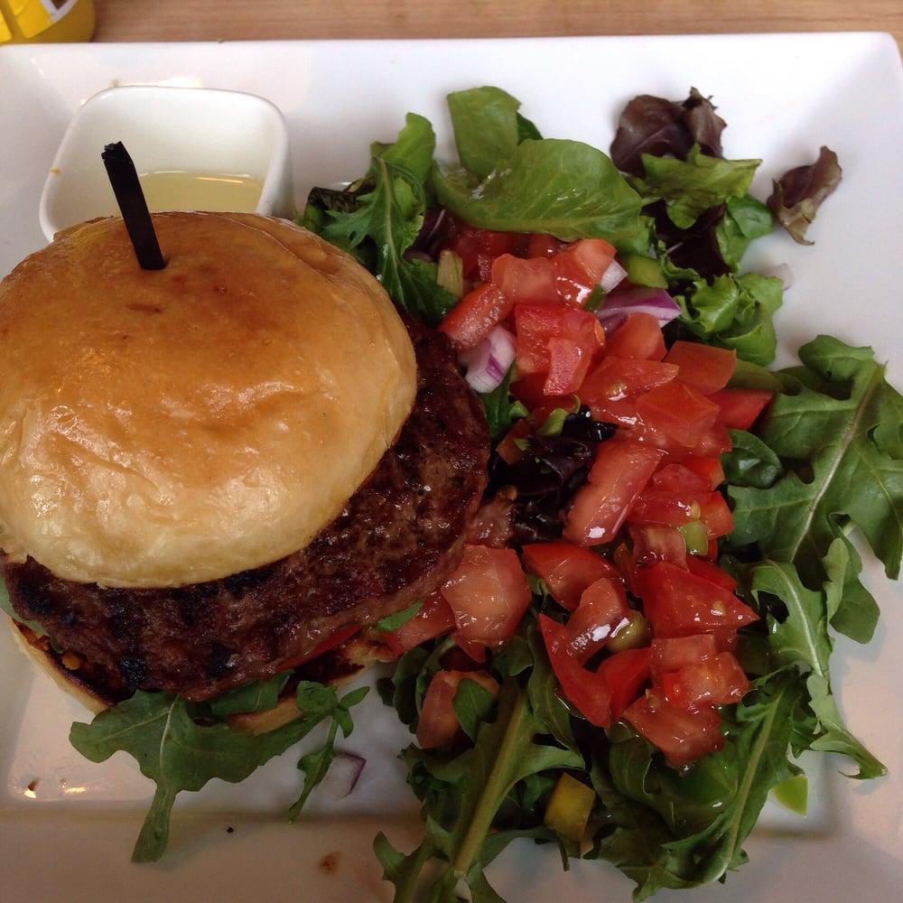 Black & White burger with house salad & lemon vinaigrette, yum! | Yelp